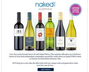 Free Case Of Naked Wines When You Spend £100 At Charles Tyrwhitt (4 x Shirts For £100 Offer On), £100