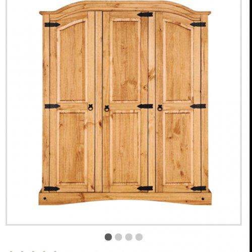 Solid pine 3 door wardrobe. - £138.94 Delivered @ Argos