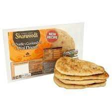 24 HOUR OFFER Sharwoods 2 Garlic and Coriander Naans 10 Packs for £1 + £5.25 p&p @ approvedfood