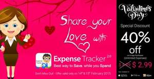 40% off Special Valentine's Day offer on Expense Tracker 2.0 £1.99 IOS, Android and Amazon