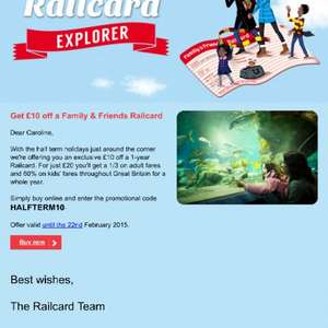 Family and friend railcard