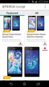 Three free Disney Frozen themes from Sony Xperia Lounge