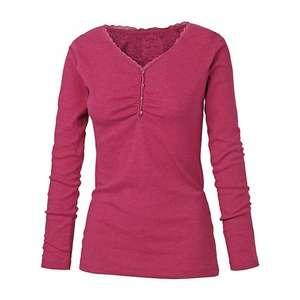 Fat Face Hazelbury Henley Long Sleeve Top, Red @ John Lewis £8.00