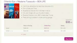 NEW Orlando Eye + Madame Tussauds + SEA LIFE, £24.19 ($37.28) @ officialorlandoeye.com