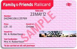 Family and friends railcard £20 for 1 year.