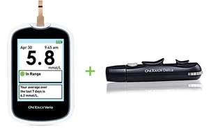 Free OneTouch Verio Blood Glucose Monitoring System Plus OneTouch Delica Lancing Device.