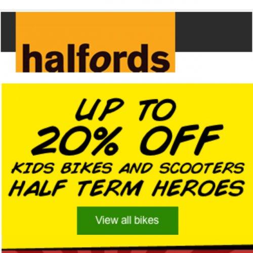 Halfords 20% off kids bikes