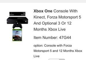 £359.00 Xbox One Console With Kinect, Forza Motorsport 5 And Optional 12 Months Xbox Live with code @ isme