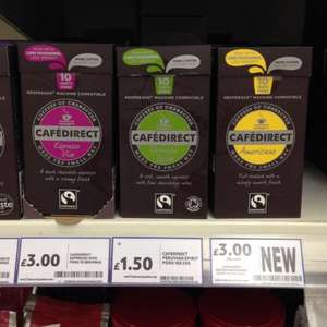Cafédirect Nespresso compatible pods £1.50 for 10 (usually £3.00) @ Tesco instore
