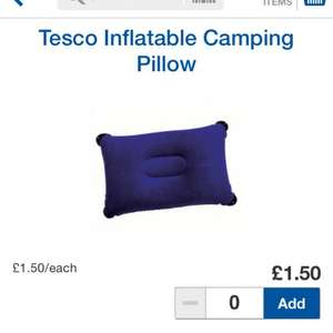 Inflatable camping pillow £1.50 Tesco