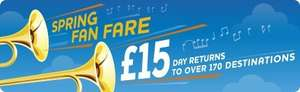 Spring Fan Fare - £15 day returns Adult £7 Children @ Southwest Trains