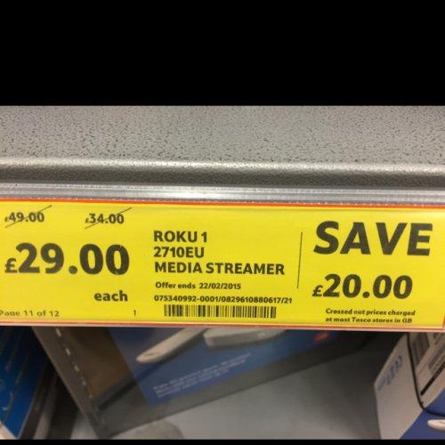 Roku 1 HD Digital Media Streamer £29 @ Tesco Online and in store