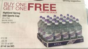 Highland spring water 40x 750 ml bottles £7.42 @ Costco