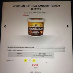 Meridian peanut butter 2kg for £8.98 @ GNC