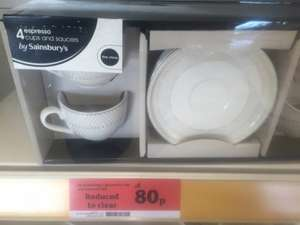 Expresso set cup and saucers Sainsburys 80p!