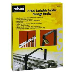 Rolson 2 x lockable ladder storage hooks. Ideal for 2 or 3 section ladders up to 20kg - £8.15 + free delivery @ big red toolbox