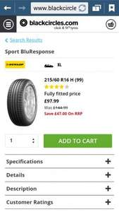 Dunlop Sport BluResponse 215 60 16 H 99 tyres £97.99 each fitted @ BlackCircles