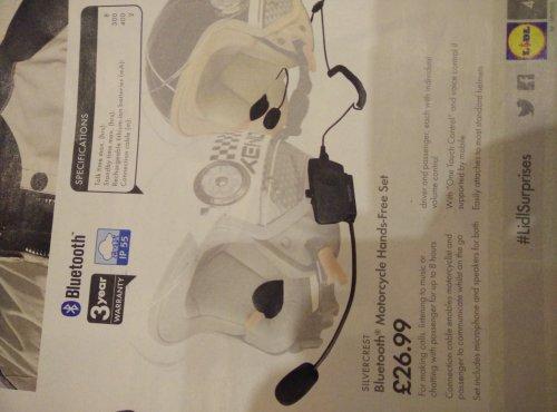 Bluetooth Helmet Intercom/Hands Free - Rider and Pillion £26.99 @ Lidl