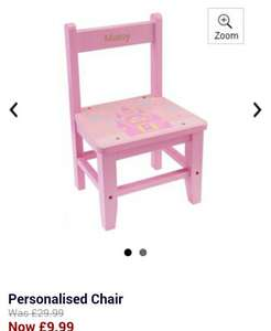 Personalised, wooden kids chair 9.99 + £4.99 delivery = £14.98 @ 24 Studio