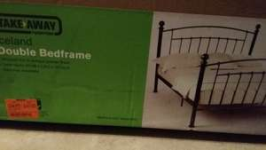 homebase Iceland wrought iron double bed frame was £174.99 now £60 Solihull instore