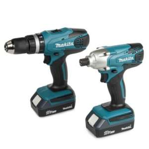 Makita 18V Li-Ion Power Tool Twin Kit 2 Batteries DK18015X2 £158 @ B&Q