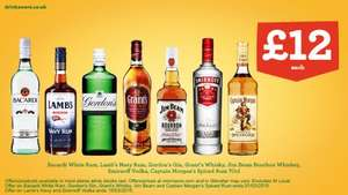 0,70 Litre Spirits £12.00 at Morrisons: Bacardi White Rum, Lamb's Navy Rum, Gordon's Gin, Grant's Whisky, Captain Morgan's Spiced Rum, Smirnoff Vodka, Jim Beam Bourbon Whiskey