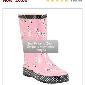 John lewis girls Dalmatian/ boys spaceman Wellington boots now £6 was £12-£14 John lewis online