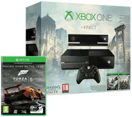 Xbox one with Kinect, Forza 5, Assassins Creed Unity & Black Flag £299.99 @  Game Instore