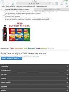 Free Pepsi Max 600ml & Walkers crisps 32.5g - all varieties Buy 1, get £1.80 cashback with quidco