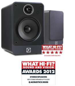 Q Acoustics 2020i Bookshelf Speakers  £122.95 (using £30 off voucher) @ hispek