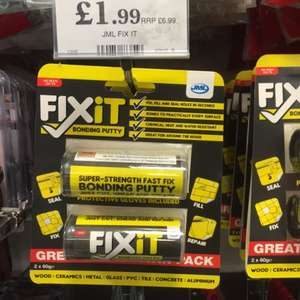 JML Fixit Bonding Putty 2X60g £1.99 @ Home Bargains