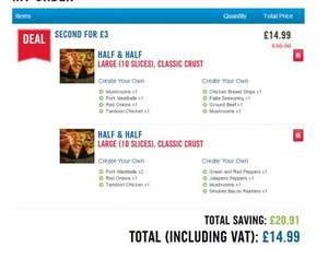 2 Large Pizzas for £15 @ Dominos (DELIVERY)