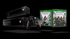 Xbox One with Kinect Assassins Creed Bundle + 1 free game £299.99 + £20 voucher @ microsoftstore