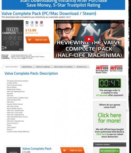 Valve complete pack! 24 games £13.99 @ gamekeysnow