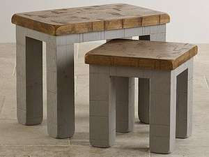 Clermont Painted Rough Sawn Solid Oak Nest Of 2 Tables £62.48 @ Oak Furniture Land