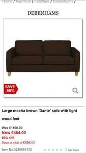 60% off Debenhams sofas plus another 10%!