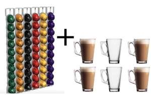 6 Latte Glasses with Free Nespresso Capsule Wall Rack Holds 60 Pods £5.47 @  kangar009/ebay