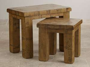 Ripley Rough Sawn Solid Oak Nest Of 2 Tables £124.64 @ Oak Furniture Land