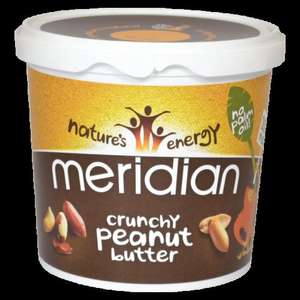 Meridian Crunchy/Smooth Peanut Butter 1kg 100% Peanut  £4.49 +free P&P @ GNC.co.uk
