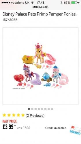 Disney Palace Pets Primp Pamper Ponies @ Argos £3.99