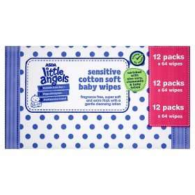 ASDA Little Angels Sensitive Cotton Soft Baby Wipes Box of 12 £3.00 (instore)