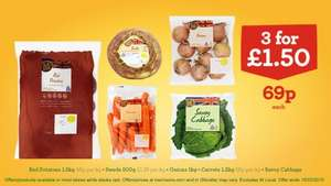 Swede, Carrots, Savoy Cabbage, Red Potatoes,Onions  3 for £1.50 ( 69p each ) @ Morrisons