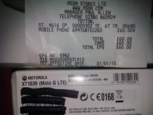 Motorolla (Moto g 4G 8G) £60.00 @ Asda instore