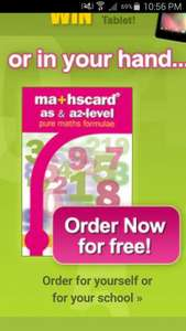 Free Mathscard for AS and A2 students