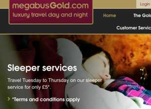 Megabus sleeper service £5.50 tue-thurs @ Megabus (includes booking fee)