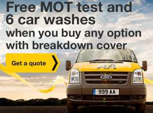 Free Mot test and 6 car wash vouchers with an AA breakdown policy (from £29)
