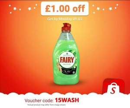 Enter 15WASHfor £1 off Fairy Aloe Vera & Cucumber £1.48 @ Asda= 48p via Shopitize App...