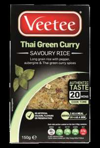 Veetee Thai Green Curry/Italian Risotto 150g Savoury Rices 29p Each @ B&M