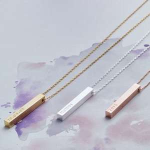 personalised bar necklace at NOTHS for £29
