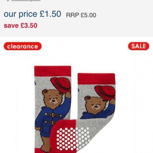 Paddington Bear Slipper Socks £1.50 @ Mothercare